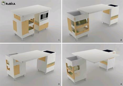 Like the idea of having foldout bench space. Could be useful where you have a breakfast bar bench and only want to use in the mornings