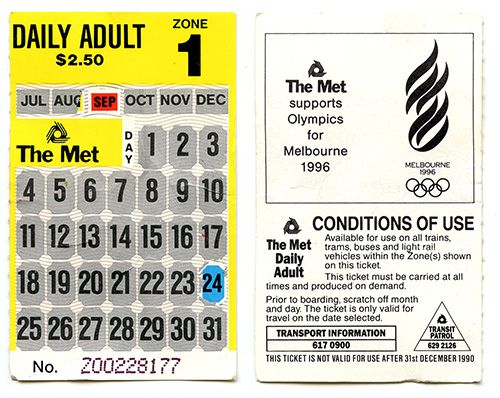 Rail ticket with scratch-off panels to indicate date of travel.