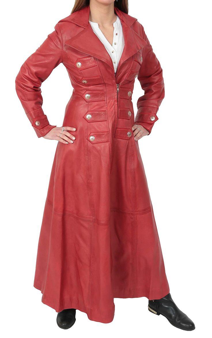 Ladies Full Length Long Leather Military Style Gothic Coat Kourtney Red (Medium)