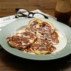 Bacon Pancake Strips with Maple-Peanut Butter Sauce - Allrecipes.com