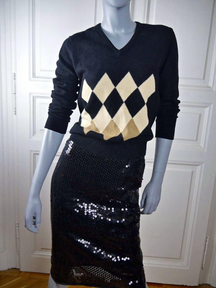 Women's Wool Sweater, British Vintage Pringle Black Argyle Jumper, 1980s V Neck Sweater, Made in Scotland: Size 8 US, 12 UK by YouLookAmazing on Etsy