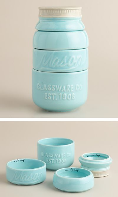 Mason Jar Measuring Cups. This would be good for a kitchen countertop display.