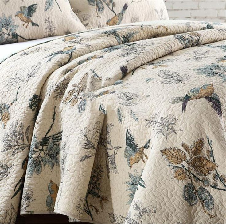 Flying Birds Printing 3 Piece Cotton Bedspread/Quilt Sets, Queen