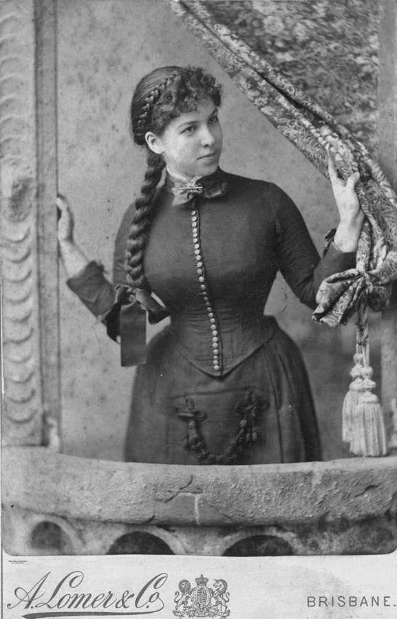 Young woman posing for a studio portrait, 1880-1890 Brisbane Qld.
