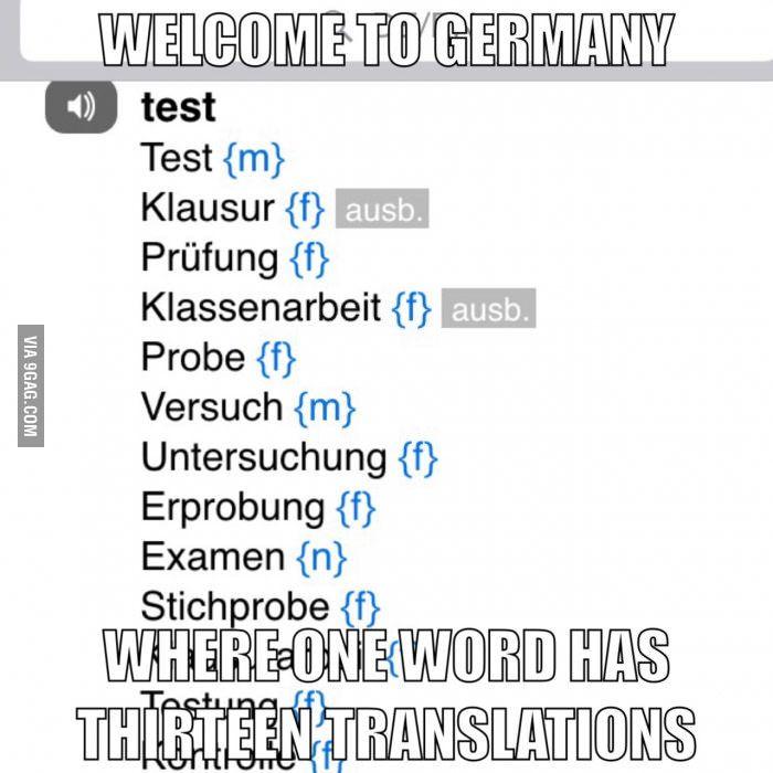 Deutsch hat viele Bedeutungen.