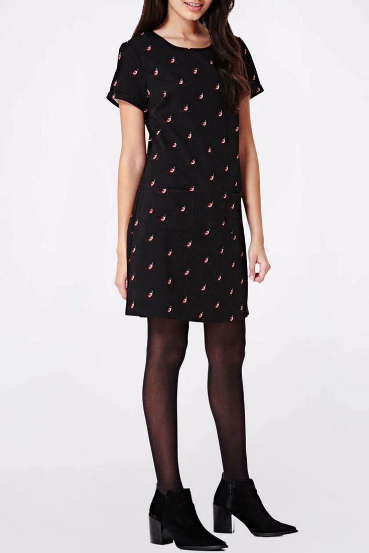 This dress islightweight and falling just above the knee, it features a cute all-over robin print, short sleeves, two front pockets and a button fastening at the nape of the neck.    Measurements:88 cms in length   Robin Print Tunic by Yumi. Clothing - Dresses - Printed Canada