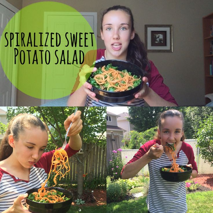 Click on the link in my bio to find out how to make this raw spiralized sweet potato salad!
