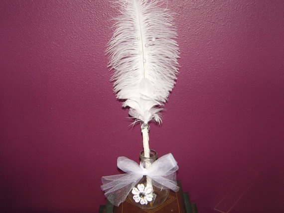 The White Wedding Feather Pen with Glass by TheWhisperingWorld, $12.00