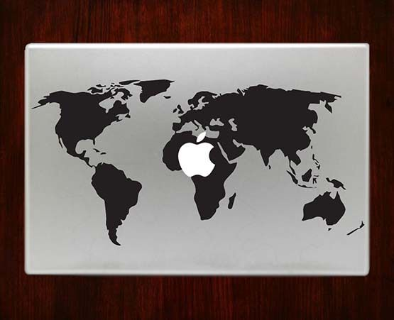 DecalOnTop.com - World map Macbook Pro / Air 13 Decal Stickers, $9.99 (https://www.decalontop.com/world-map-decal-stickers-for-apple-macbook-pro-air-13-15-inch-decals/)