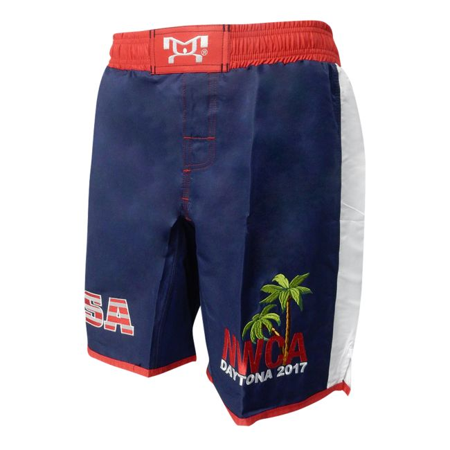MyHOUSE Embroidered NWCA Dayton USA Fight Short with Palm Trees on Left Leg is a comfortable and cool Fight Shorts for Wrestler. MyHOUSE is the leading seller of Custom #Wrestling Product.