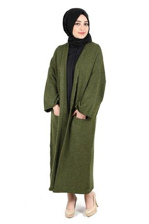 Dilvin Kimono Kollu Cepli Hırka 1980 Haki