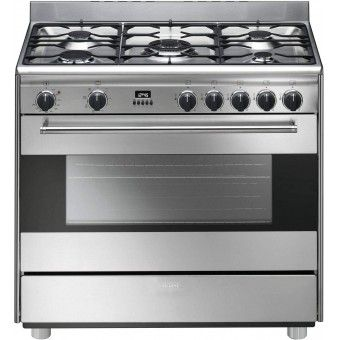 Cuisini re mixte 5 feux smeg bg91x gros lectrom nager for Cuisiniere design