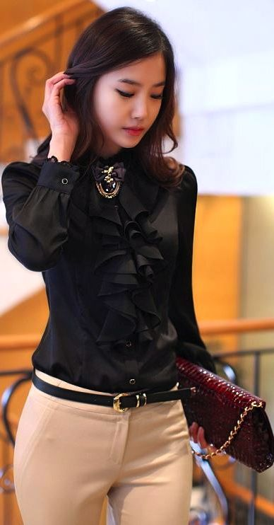 Ship Ruffled Black Elegant Chiffon Blouse For Women