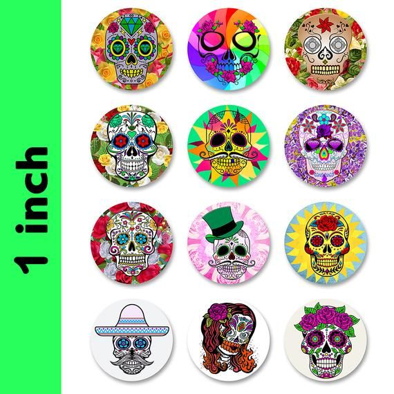 Fun Skulls Magnets 1 Inch Round Fridge Magnets 12 Magnets In 2020 Sticker Sheets Skull Sticker Christmas Stickers