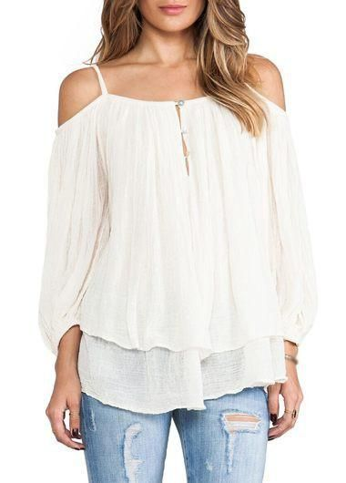 Fit any fashion in this flowing off-shoulder blouse! Made from 100% cotton. Free Worldwide Shipping & 100% Money-Back Guarantee     SIZE US BUST SLEEVE LENGTH   S 4 40 14 26   M 6 42 14.5 26.5   L 8 43 15 27   XL 10 45 15.5 27.5    Note: Sizes are in inches.