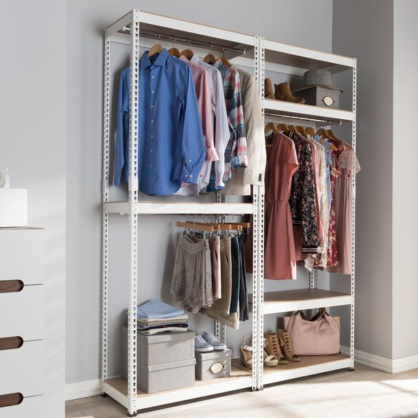 Belote 63 W Metal Closet System Clothes Storage Without A Closet Closet Storage Closet Shelves