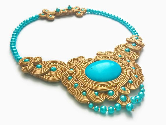 Turquoise Egyptian Necklace Golden Pendant by RenaSoutacheArt
