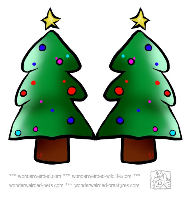 Cartoon Christmas Trees Clipart - at www.wonderweirded.comwith baubles and Xmas Star Printable Christmas Ornaments Crafts  LOVE IT !!! NO $