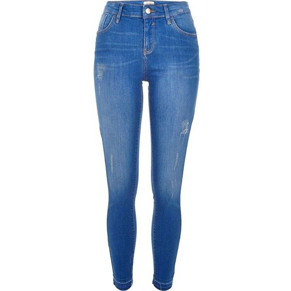 River Island Bright blue wash Amelie super skinny jeans ($84) ❤ liked on Polyvore featuring jeans, pants, bottoms, blue, skinny jeans, women, ripped jeans, denim jeans, distressed denim jeans and blue jeans