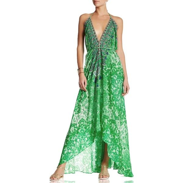 Printed Embellished Emerald Green Bohemian Backless Silk Maxi Dress -... (£300) ❤ liked on Polyvore featuring dresses, long backless dresses, backless maxi dress, long bohemian dresses, floral dresses and floral print maxi dress