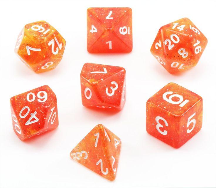 Eclipse Dice (Galaxy Orange) RPG Role Playing Game Dice Set – Dark Elf Dice