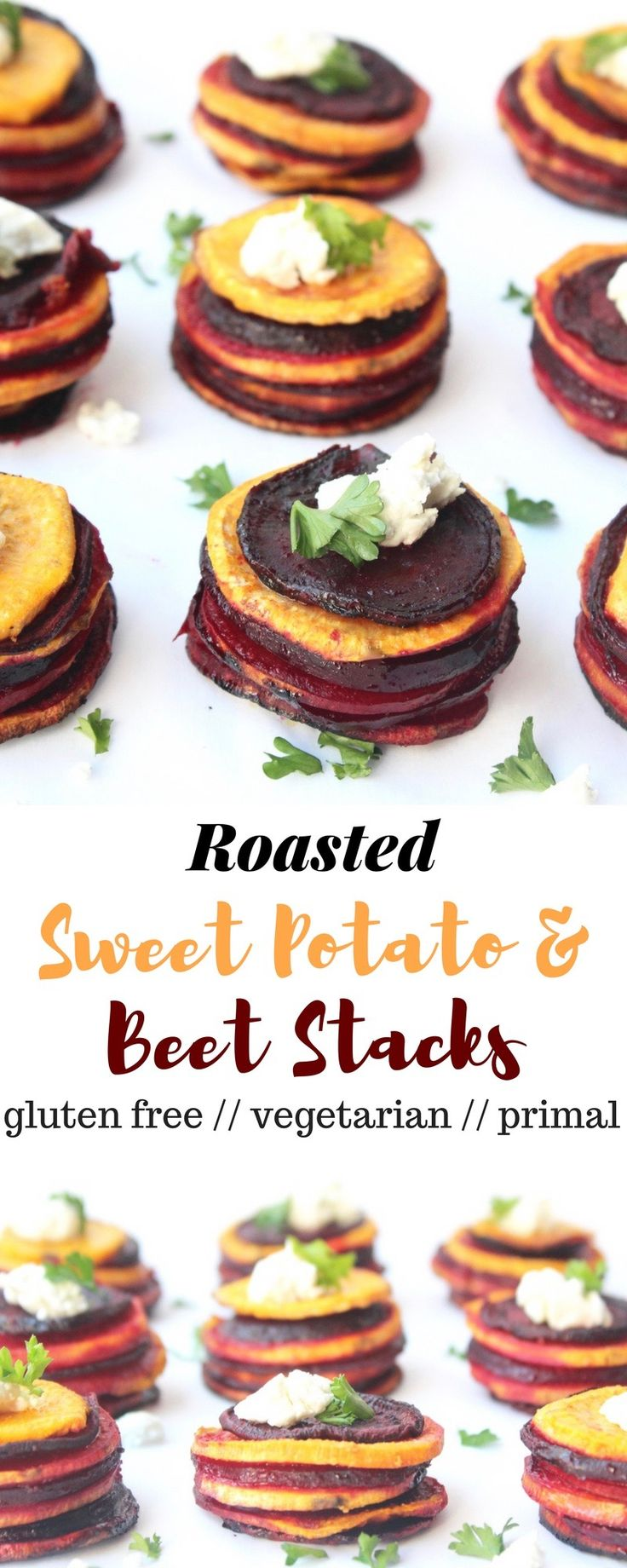 These Roasted Sweet Potato & Beet Stacks make a fun, easy, and healthy side dish for your holiday get-togethers - Eat the Gains