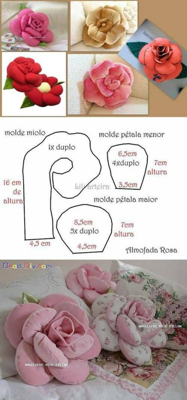 Almofadas Flor em Tecido Passo a Passo com Video e Fotos