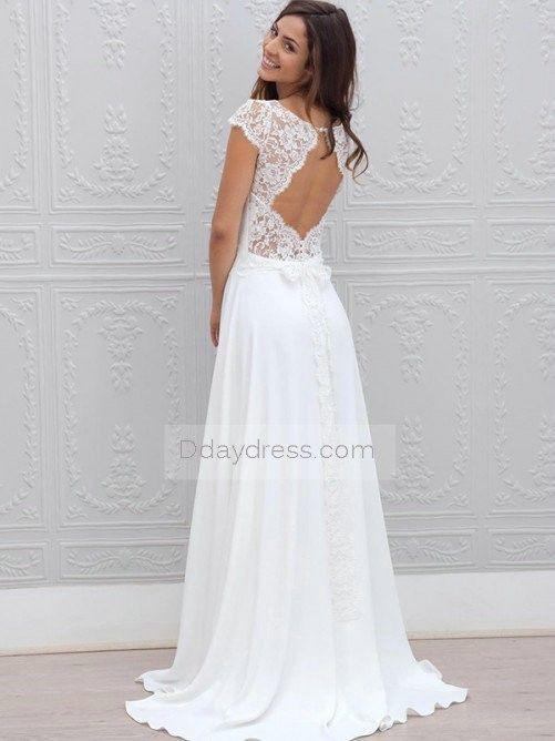 95b82073a39 Save on A-Line Short Sleeves Scoop Lace Brush Train Wedding Dress   ddaydress  weddingdress  spring  simpleweddingwear  brushtrain   fashiondress