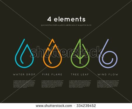 Body – Tattoo's – Nature elements. Water, Fire, Earth, Air. Infographics elements on dark backgrou