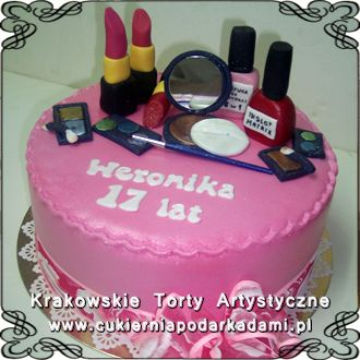 019. Rózowy tort z kosmetykami na 17naste urodziny. Pink cake with makeup cosmetics for 17th birthday.
