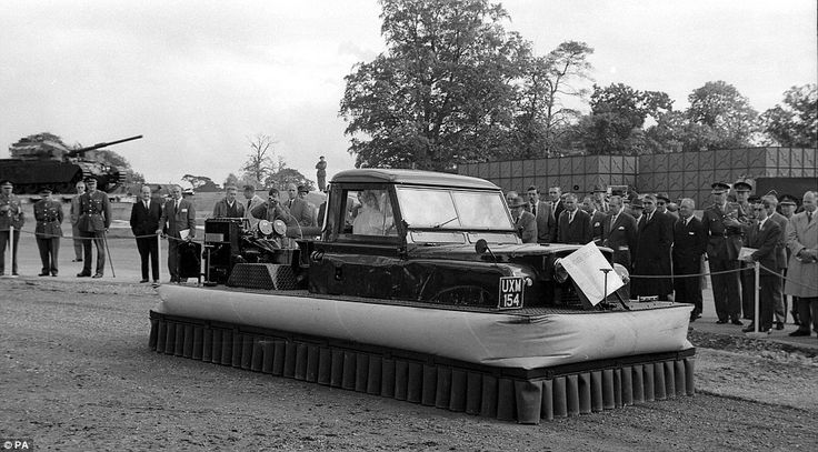 Best of British: A Land Rover - one of the hallmarks of the nation's motoring industry - is given an unexpected makeover with a platform that turns it into a hovercraft