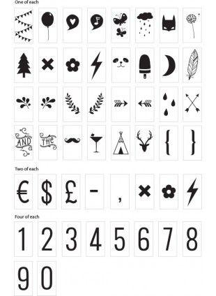 Lightbox Nummern und Symbole Zubehör-Set Schwarz
