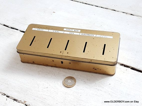 Vtg 5 holes THRIFT BOX Money Tin: Rent Coal Gas Electricity and blanket vintage money box vtg save money tin thrift gift for husband L08/531