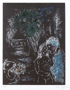 """Reproduction Lithograph """"The Green Tree with Lovers,"""" by Anthony Tetro after Marc Chagall.  Estimated $200-400, I paid $10 at a sale.  Tetro is a world-famous art forger... born in FULTON, NY!  Right next door to my hometown Oswego.  How weird to find one of his works nearly 900 miles away...."""