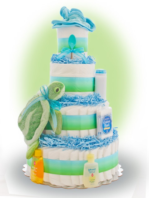 Image detail for -Blue Glitter Turtle 4 Tier Diaper Cakes | Baby Boy Shower Diaper Cakes ...
