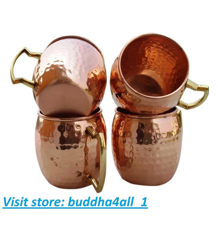 Handmade Hammered Pure Copper Moscow Mule Mugs With Brass Handle Capacity 16 Oz
