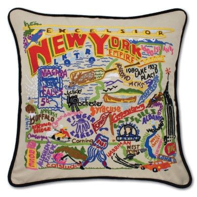 New York Hand Embroidered Pillow from southern ELEVATION