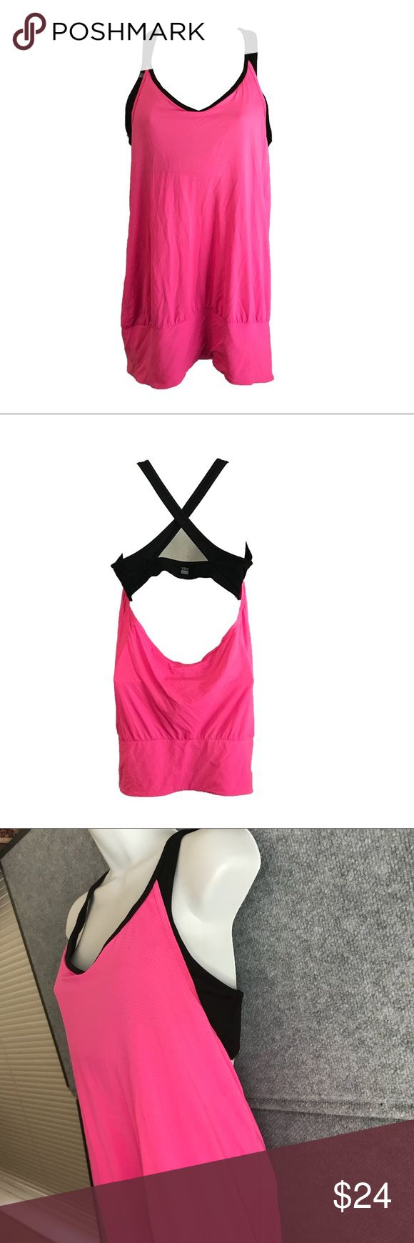 Victoria Secret Sport VSX Workout Active shirt M Victoria Secret Sport VSX Workout Active shirt M  Black Cross back bra with plenty of support with Pink Slouchy open back #37-073 Victoria's Secret Tops Muscle Tees