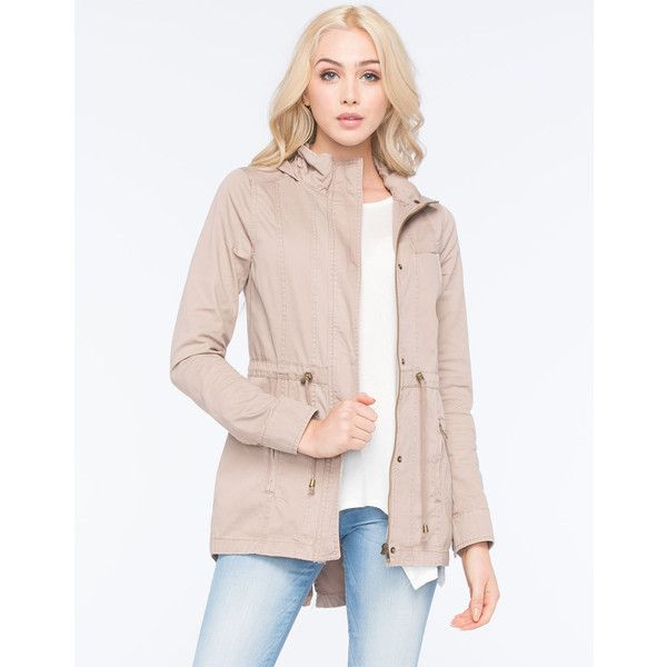 Full Tilt Hooded Twill Womens Anorak Jacket ($40) ❤ liked on Polyvore featuring outerwear, jackets, khaki, lightweight anorak jacket, khaki anorak jacket, hooded jacket, pink jacket and drawstring jacket