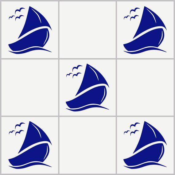6X SAIL BOAT Sea Ocean Bathroom Wall Tile Vinyl Stickers
