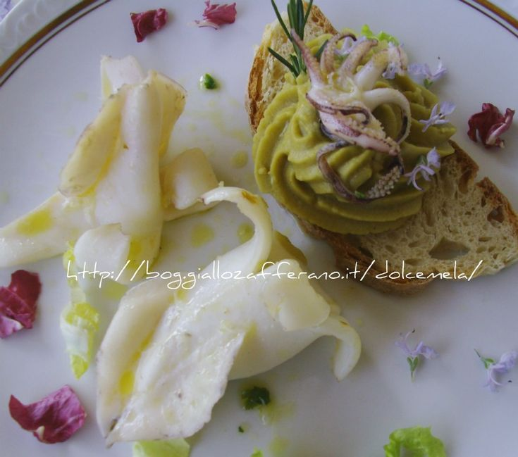 Calamari grigliati e crema di ceci su crostone al profumo di aglio e rosmarino