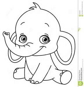 Outlined baby elephant for coloring books.