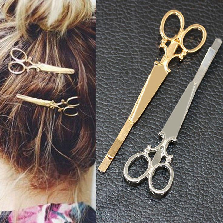 TS405クールシンプルなヘッドジュエリーヘアピンゴールドはさみ鋏クリップ用髪ティアラバレッタアクセサリー頭飾り用女の子女性
