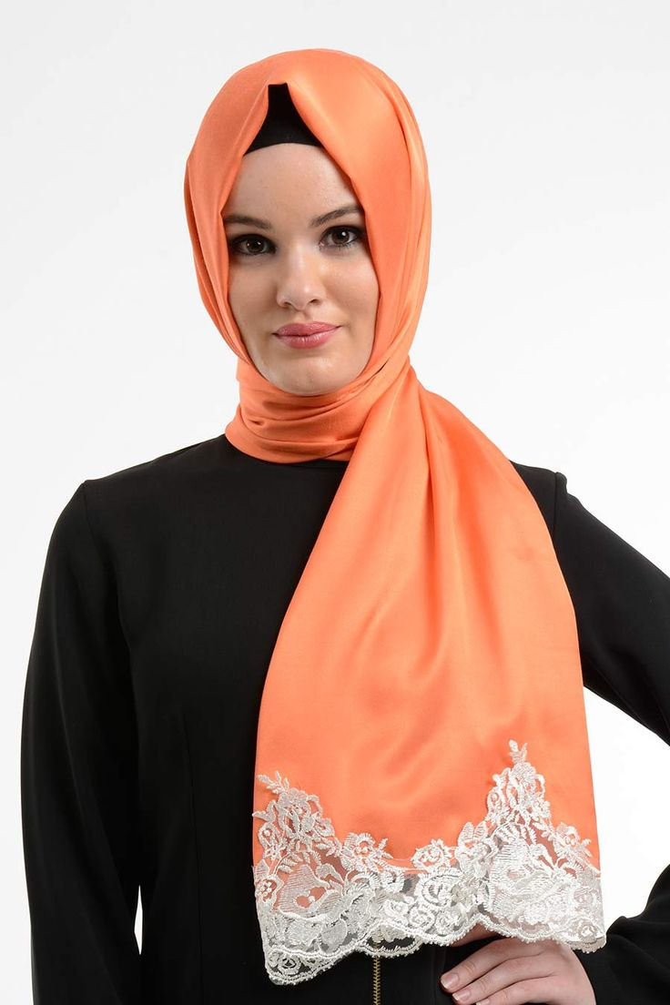 Orange scarf orange coral hijab, white lace ends, silk like scarf,  gift for her, wedding gift, coral scarf, coral head scarf by NevaStyleCanada on Etsy