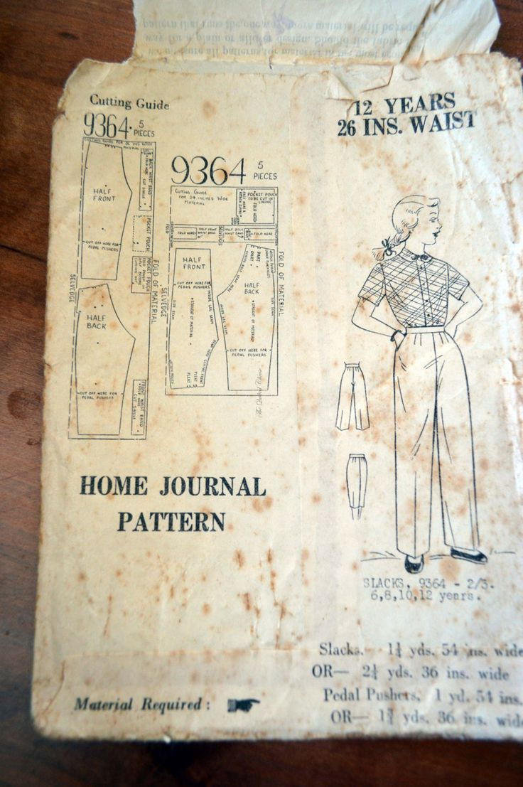Home Journal Pattern. no 9364. Slacks. 1950-60's, Pedal pushers. paper pattern, by TheQuiltedCheese on Etsy
