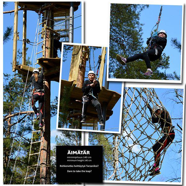 Seikkailupuisto-Huipun-Äimätär-rata-alkaa-huimalla-Tarzan-hypyllä. Blogista voit lukea lisää Huipun radoista. #seikkailupuistohuippu
