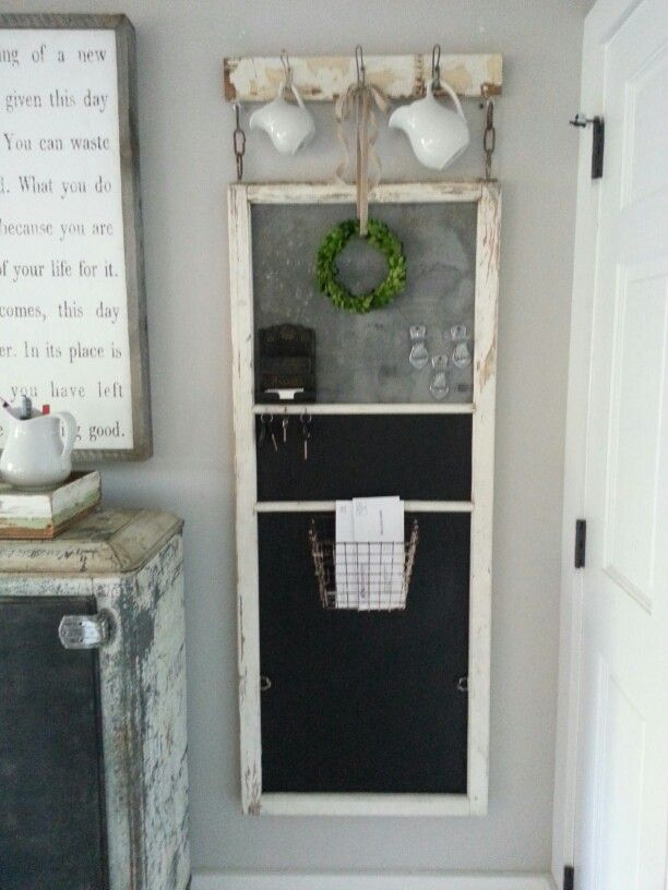 Old window screen repurposed to message center. | Old ...