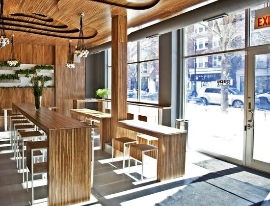 CAFE Coffee Shop Interior Lighting Design Ideas Long Thin Tables More Seating