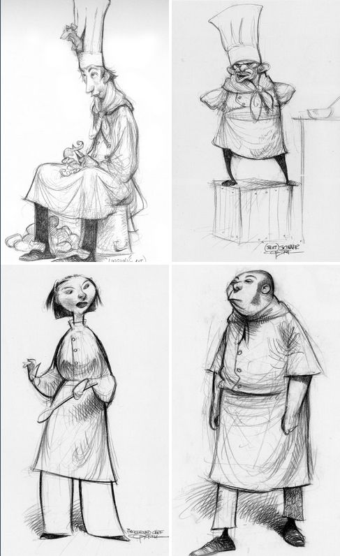 Ratatouille character designs by Carter Goodrich