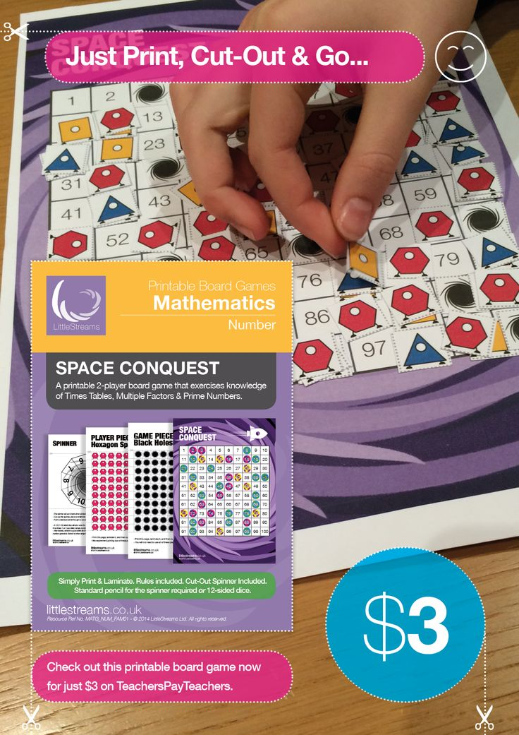 Space Conquest is a game that helped players better grasp the concepts of Times Tables, Multiples and Prime Numbers, all in one fun and competitive board game. Game comes bundled with three free posters on the subjects of Factors, Multiples and Prime Numbers. Object: You are a space explorer. You plan to own as many spaces on the board as you can. Problem is, so does your opponent.